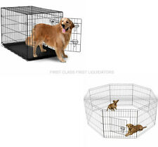 "Folding Dog Crate Metal Cage Kennel Cat 48"" 42"" 36"" 30"" 24"" AND Exercise Pen 42"""