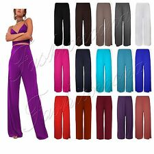 NEW LADIES PLUS SIZE PLAIN PALAZZO TROUSERS BAGGY FLARED WOMENS WIDE LEG PAINTS