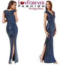 NAVY LONG SEQUIN MAXI PLEATED NECKLINE WEDDING PROM GOWN PARTY DRESS8-14(WAS£79)