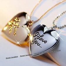 Xmas Gifts For Her - Matching Silver & Rose Gold Heart Necklaces Photo Locket xx