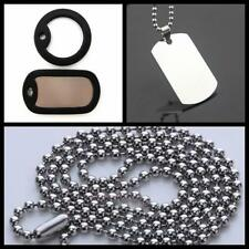 Mens Necklace Steel Stainless Dog Tag Pendant Military Army