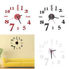 Unqiue-Modern Art DIY Large Wall Clock 3D Stickers Design Home Office Room Decor
