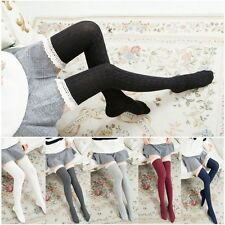 Warm Long Knit Lace Socks Women Stockings Tigh High Over Knee