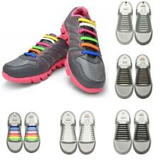 18pcs Adults Silicone Flat Shoelaces Elastic Tieless Running Sneaker Shoe Laces