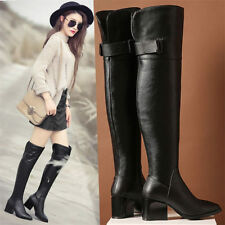 Womens Black Leather Point Toe Military Over Knee High Boots Shoes Snow Winter