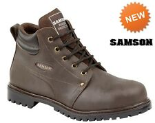 Mens Safety Work Boots Samson Waxy Brown Leather Boot S3 7704 Steel Toe Cap