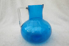 BEAUTIFUL HANDMADE BLUE GLASS JUG WITH PONTIL TO BASE