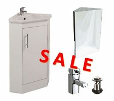 Bathroom/en-suite/cloakroom Corner Vanity Unit Mirror Cabinet Mono Basin Mixer