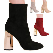 LADIES WOMENS STATEMENT HEELS ANKLE BOOTS FORMAL EVENING PARTY STYLE SHOES SIZE