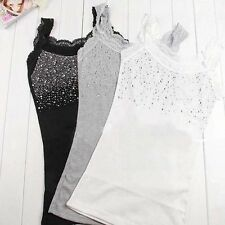 Women's Rhinestone Sequin Lace Tank Top Sling Camisole Cami Shirt Vest Slim