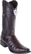 Men's Wild West Genuine Caiman Belly Snip Toe Cowboy Western Boots Handmade