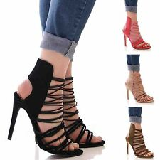 LADIES WOMENS SUMMER LACE UP HIGH HEEL SANDALS CASUAL FORMAL FASHION SHOES SIZE