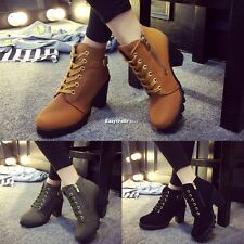 Womens Fashion High Heel Lace Up Ankle Boots Ladies Zipper Buckle Platform ESY1