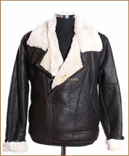 Shearling Aviator Brown / White Mens Crosszip Sheepskin Leather Flying Jacket