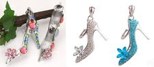 NWT Crystal Rhinestone Shoe High Heel Stiletto Pendant 925 Necklace Chain