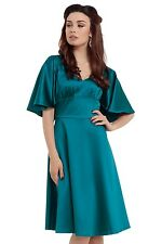 New Blue Satin cape dress sweetheart neckline Rockabilly Retro Vintage All Sizes