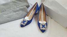New Genuine Manolo Blahnik Hangisi Royal Blue Satin 70 CLC Heels Pump Shoes