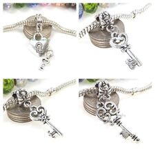 Key to My Heart Dangle Silver Tone Large Hole Bead for European Charm Bracelet