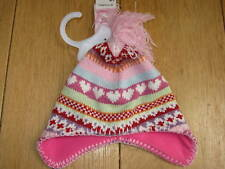 F AND F GIRLS PINK FLEECE LINED KNIT TASSLE TRAPPER HAT 0 3 6 MONTHS NEW