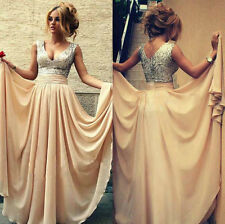 Long Chiffon Evening Fromal Bridesmaid Party Ball Gown Vneck WomenDress Size8-16