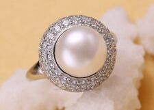 Natural Fresh Water Pearl Ring, Big Pearl 11-12mm, Gold Plated, Adjustable Size