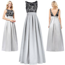 Lady V-Back Lace Evening Formal Cocktail Party Bridesmaid Prom Gown Long Dress.