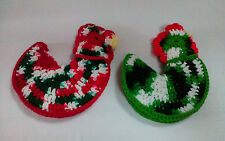 Vintage Crocheted Chicken Rooster Pot Holder Pattern Christmas Red / Green
