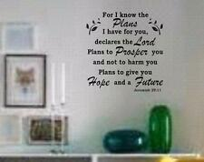 "Jeremiah 29:11 BIBLE VERSE Quote ""Hope and a Future"" Wall Art vinyl Decal NEW"