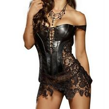 Hot Club Dress Women Sexy Clubwear Hollow Out Leather Corset Zip Back Lace Dress