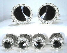 JET (BLACK) TUXEDO CUFFLINKS & STUDS SET CUSTOM MADE WITH SWAROVSKI CRYSTALS