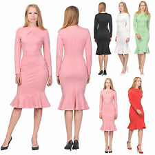 MARYCRAFTS WOMEN'S ELEGANT DRESS PARTY COCKTAIL OFFICE WORK FISHTAIL DRESSES