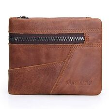 Men Wallet Genuine Leather Patchwork  With Deleted Coin Pocket Photo Holder