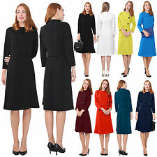 WOMENS ELEGANT WORK OFFICE BUSINESS DRESS VINTAGE RETRO LINED TEA MIDI DRESSES