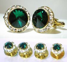 EMERALD CRYSTAL TUXEDO CUFFLINKS & STUDS SET CUSTOM MADE WITH SWAROVSKI CRYSTALS