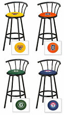 "FC511 MLB LOGO THEMED 29"" TALL BLACK FINISH METAL SWIVEL SEAT BAR STOOLS"