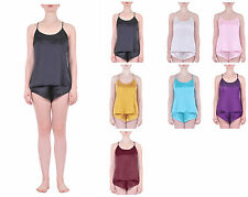 MARYCRAFTS WOMENS PURE SILK SLEEP CAMISOLE TANK TOP LOUNGE SLEEPWEAR