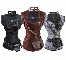FeelinGirl Steampunk Corselet Top Retro Gothic Steel Boned Brocade Corset Jacket