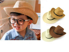 Kids Boy Cowboy Hat Bull Rider Hat Wild West Straw Summer Sun Cap Fancy Dress