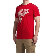 Simms Fly Fishing Woodblock Bass S/S T Shirt - Red - Choose Size - NEW!