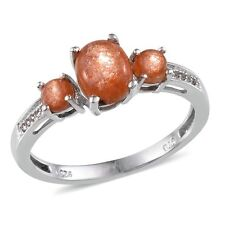 Madras SUNSTONE , White TOPAZ RING in Platinum Overlay Sterling Silver 1.83 Cts.