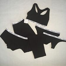 Calvin Klein Black Set, Sleep Lounge Pants, Bra, Thong, Bikini & Boyshorts