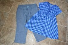 NEW MATERNITY BLUE  CAPRIS KNIT TOP OLD NAVY MEDIUM M SMALL S LOT 2 PIECE
