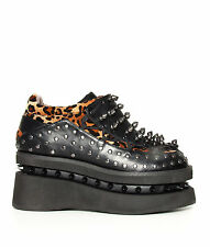 Hades Shoes - Opion Cheetah Platform Flats with Studded Sides