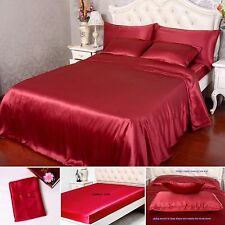 19 Momme 100% Pure Silk Duvet Cover Sheets Pillow Cases Seamless Wine All Size