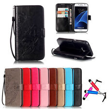 NEW Card Holder Leather Flip Wallet Case Cover Stand Floral For Samsung Galaxy
