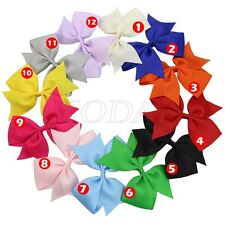 """1x 12 Colors Big 5"""" Girl Baby Toddler Grosgrain Hair Pigtail Bow Alligator Clip"""