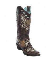 Corral Ladies Snip Toe Brown Concho & Side Harness Western Boot E1015