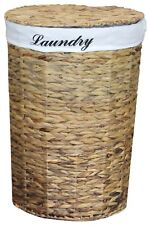Natural Water Hyacinth Round Laundry Hamper with Removable Linen Liner and Lid