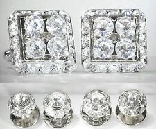 CLEAR CRYSTAL SQUARE CUFFLINKS, ROUND STUDS TUXEDO SET MADE W/SWAROVSKI CRYSTALS