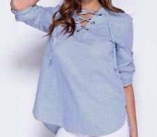 SALE- New Women's Eyelet  Lace Up Detail 3/4 Sleeve PinStripe Blouse SIZE S/M